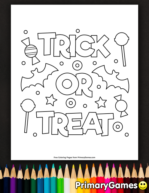 Halloween Coloring Pages eBook: Trick Or Treat Coloring Page #halloweencoloringpages