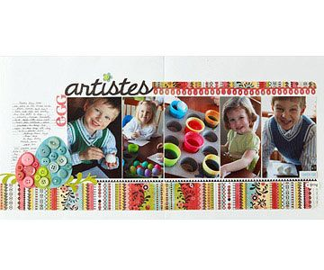 Design by Nicole Samuels Nicole chose one patterned paper in hues that matched her Easter photos to tie together her scrapbook page. For textured tone-on-tone Easter embellishments, cut egg-shape pieces of patterned paper and layer coordinating buttons on top.  SOURCES: Cardstock: Bazzill Basics Paper. Patterned paper: BasicGrey. Stickers: BasicGrey, Making Memories (small letter stickers.) Chipboard accent: Scenic Route Paper Co. Tag: Making Memories. Buttons: Autumn Leaves, BasicGrey…