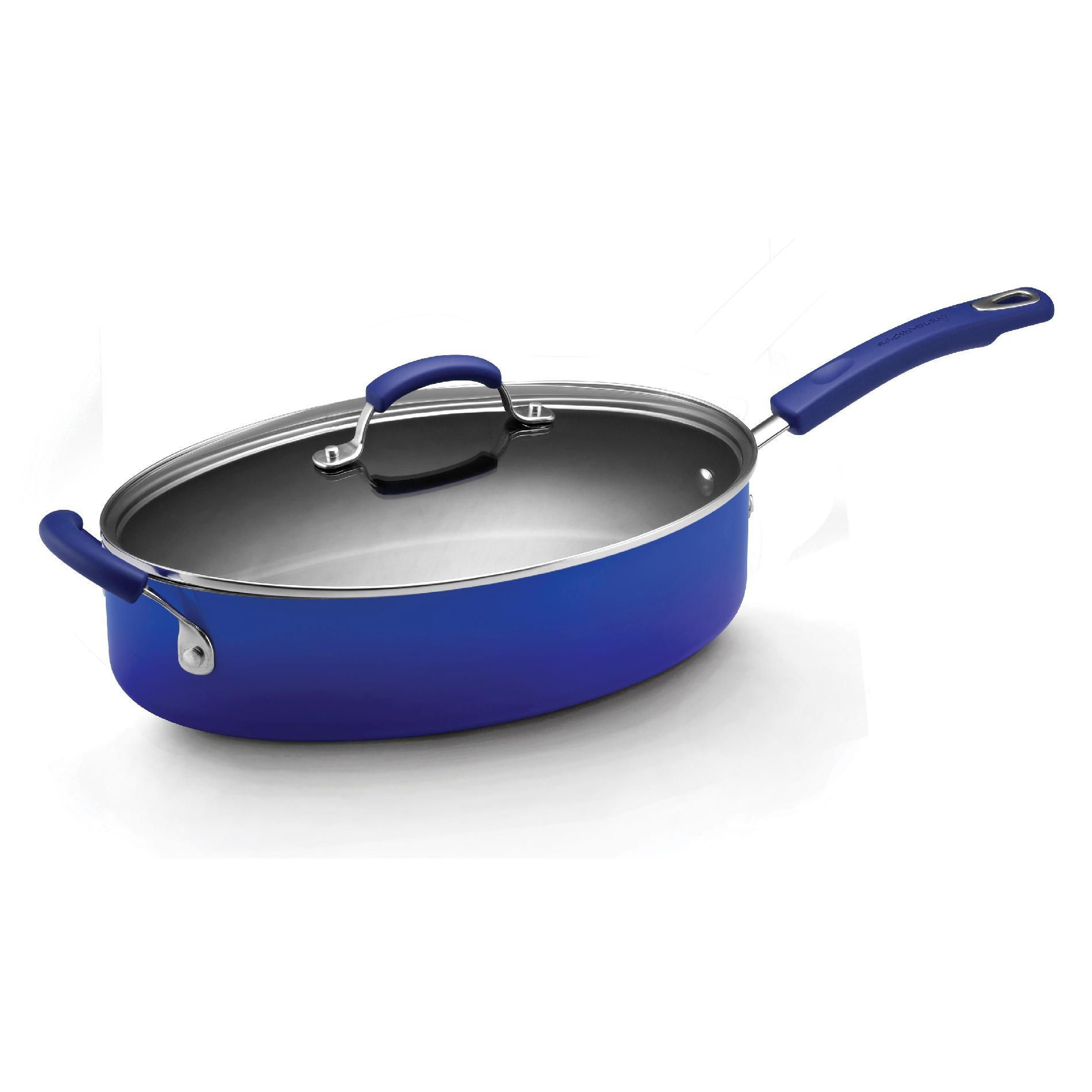 Rachael Ray 5 Quart Covered Oval Saute with Helper Handle, Blue Two Tone