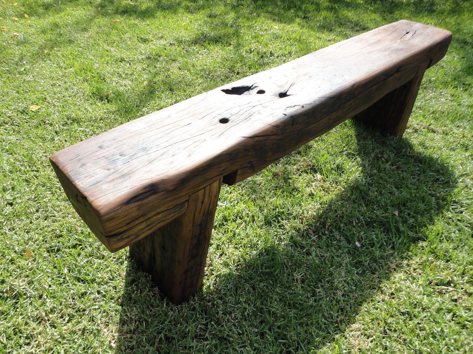 Railway Sleeper Garden Bench Seat Oil Finish Handmade In Rowville