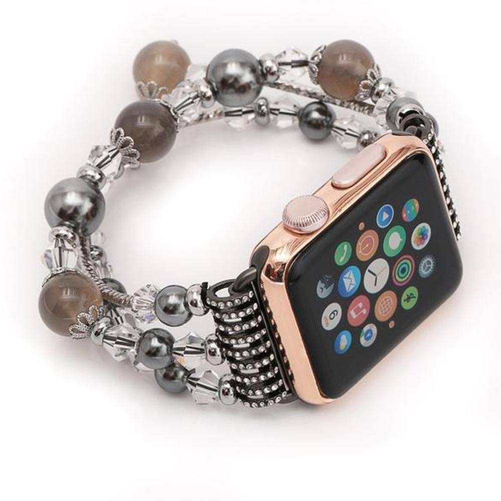 Apple watch band multistrand stretch cord beads fancy