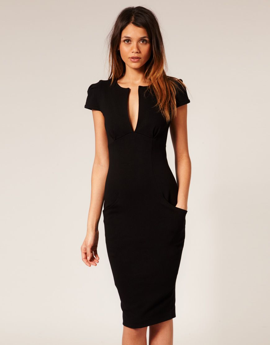 aad3db5b86 Asos Collection Asos Ponti Pencil Dress with Pockets in Black