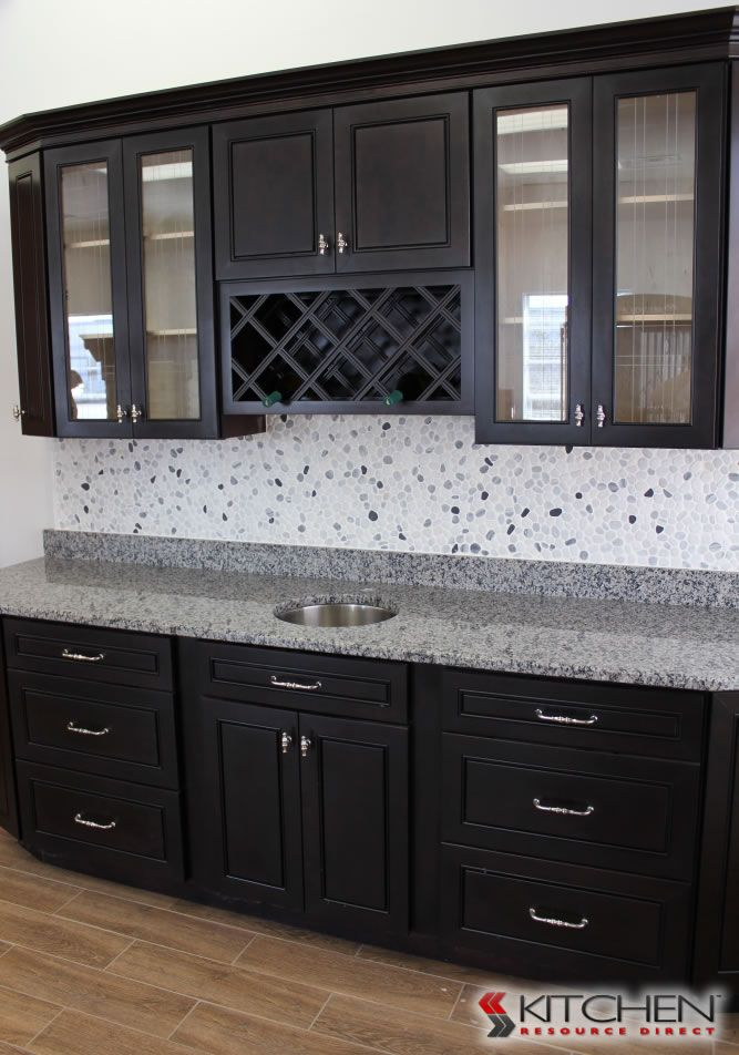 Example Of Espresso Cabinets With Grey Tile Don T Actually Like These Cabinets Or The Kitchen Design Decor Espresso Kitchen Cabinets Discount Kitchen Cabinets