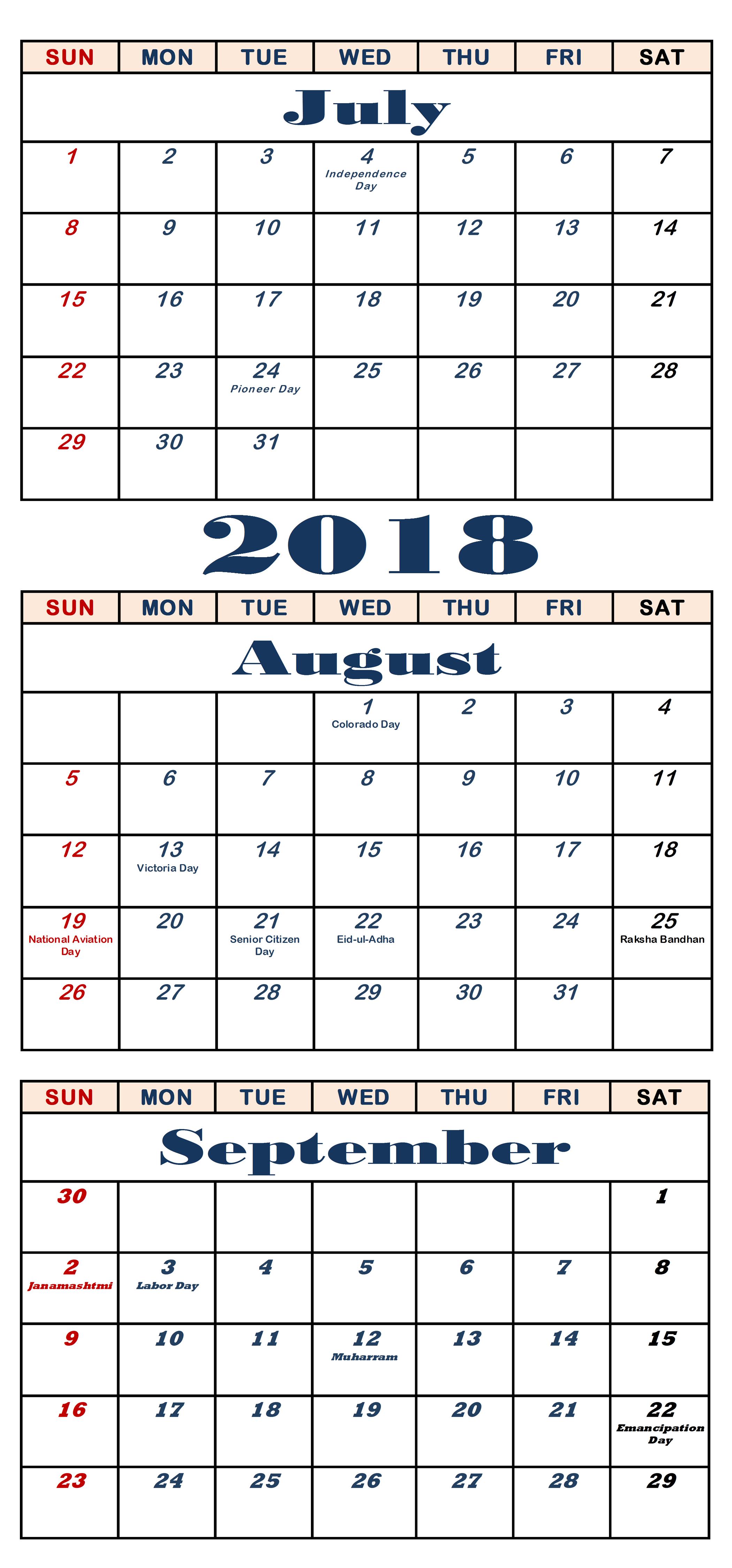 July August September 2018 Calendar Editable Template August