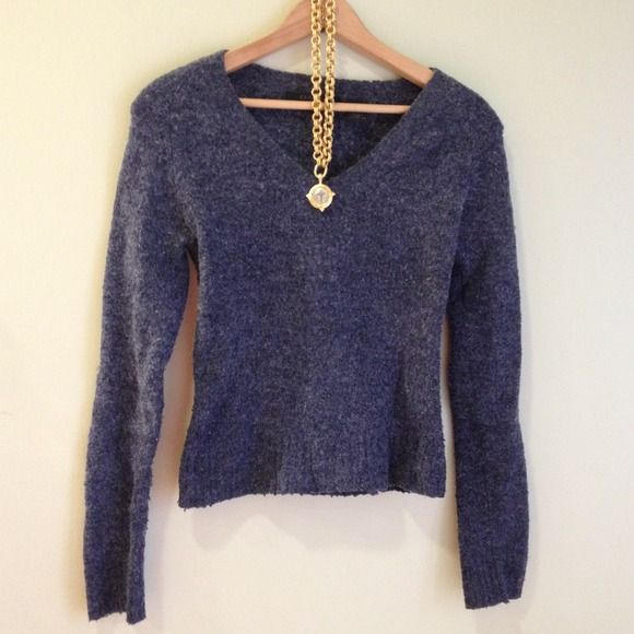 Express Navy Sweater Express Navy Sweater - fitted & flattering, great under collared button downs for a preppy chic look. I have this sweater in every color! I love it ❤❤❤ gently used soft fluffy (not itchy) supple feel. As is final sale Express Sweaters