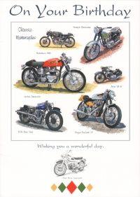 Happy Birthday Card Classic Motorcycles 1 75 Happy Birthday Cards Classic Motorcycles Birthday Cards