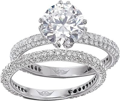 flyerfit micro pave platinum diamond engagement ring - Platinum Diamond Wedding Rings