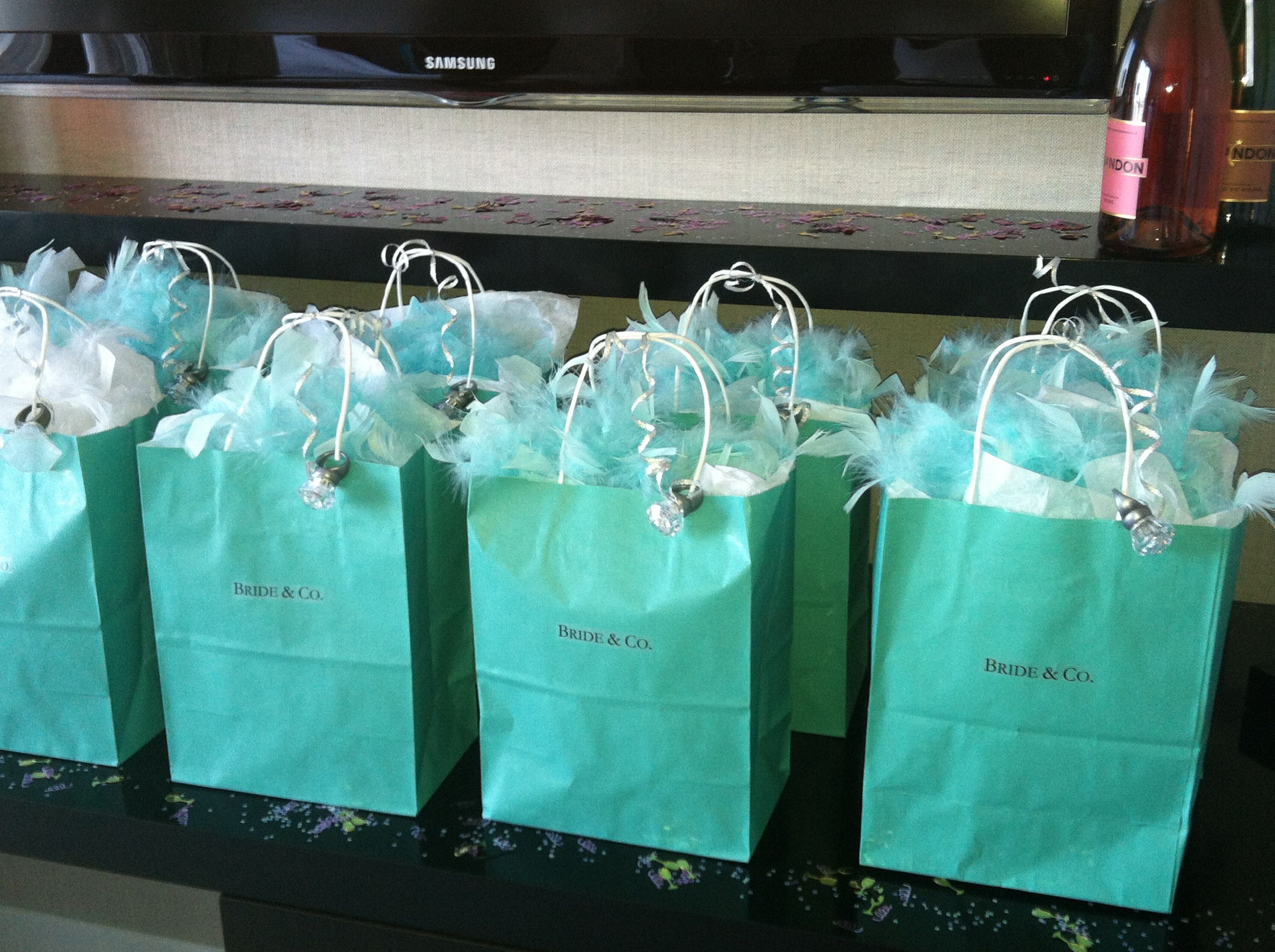 Bachelorette Party Tiffany Themed Gift Bags With Bride And Co Labels On Them