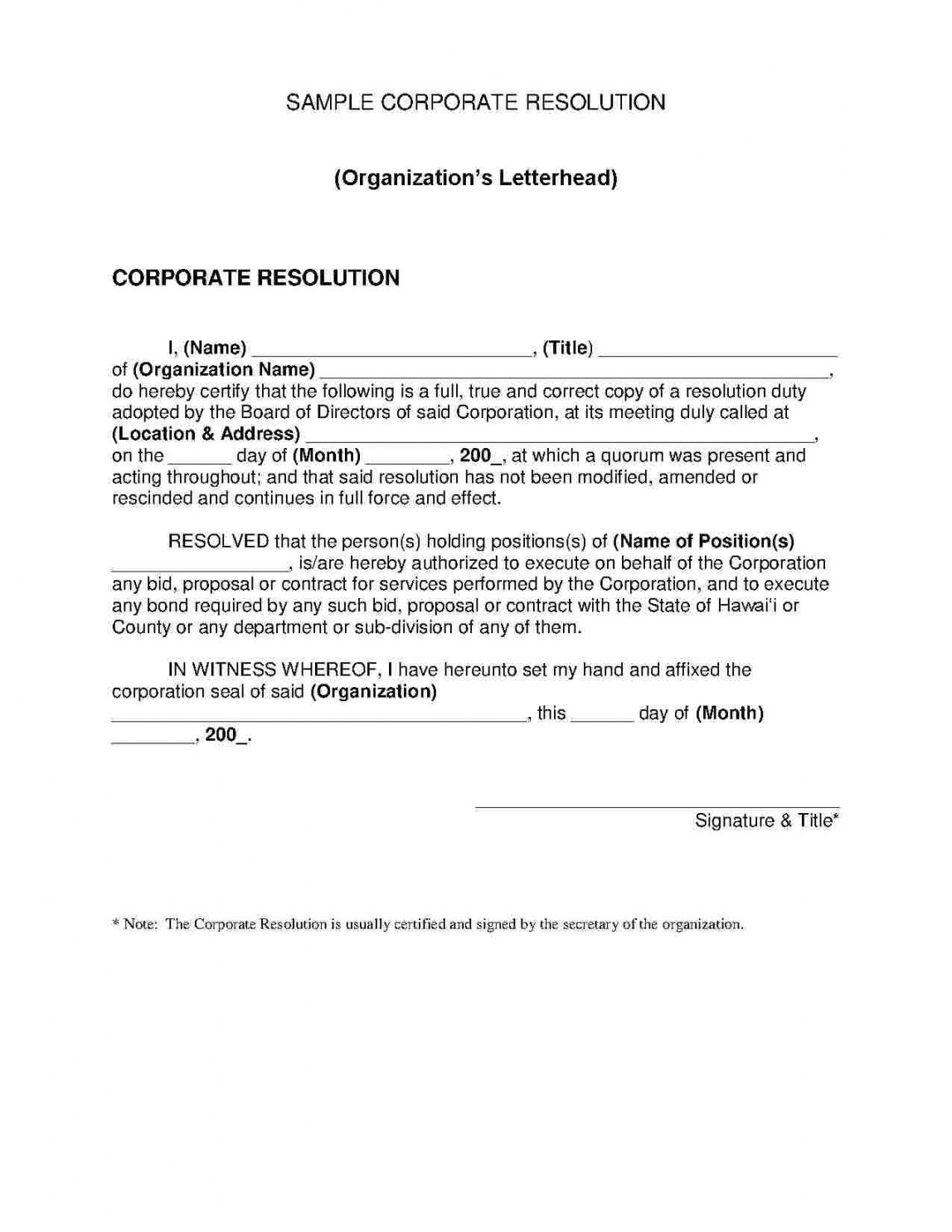 Explore Our Image Of Certificate Of Corporate Resolution Template Organisation Name Corporate Personalized Awards
