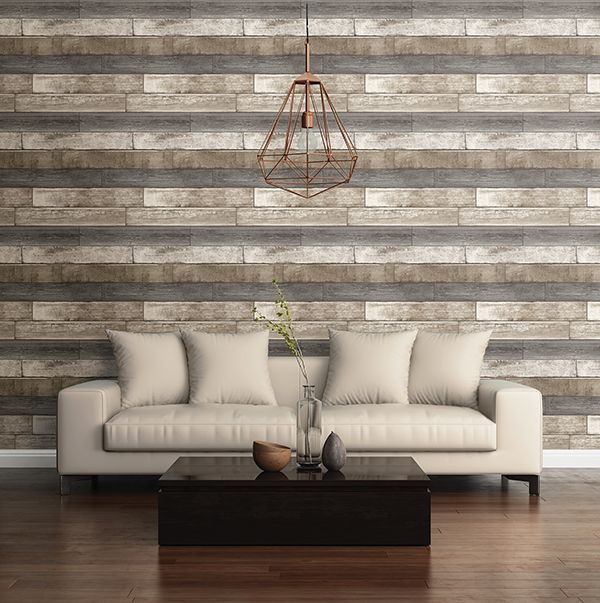 Industrial Chic Living Room With Wood Accent Wall Wood Plank Wallpaper Grey Wood Texture Textured Wallpaper #textured #accent #wall #living #room