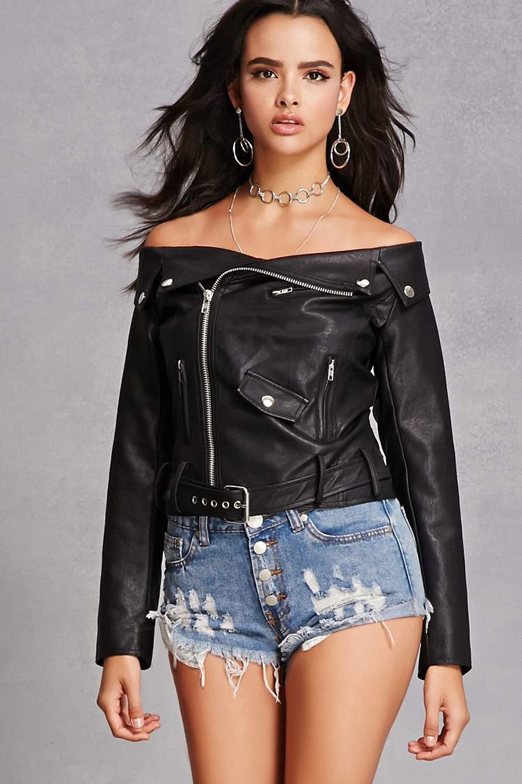 A Midweight Faux Leather Moto Jacket Featuring An Off The Shoulder Neckline A Notched Lapel Foldover Collar An As Fashion Clothes Design Coats Jackets Women [ 1125 x 750 Pixel ]