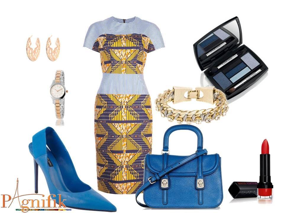 Robe bleu accessoire jaune