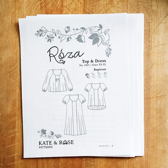 Roza Blouse and Dress PDF sewing pattern | Pinterest | Querbeet und ...