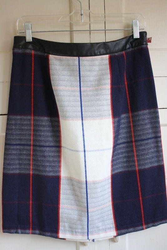 Merona Women's Plaid Straight Pencil Skirt Navy Blue White Black & Red size 10 #Merona #StraightPencil