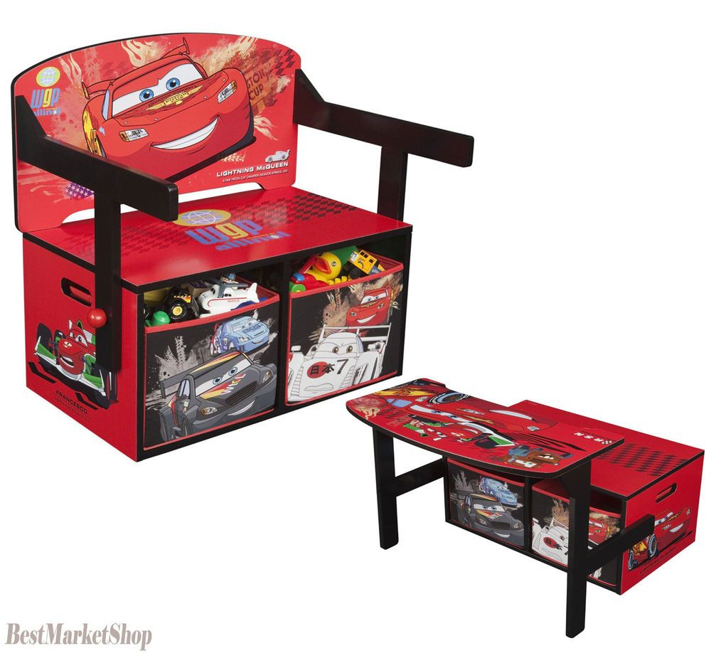 Disney Cars Desk Kids Table Chair Toy Box Storage Chest Bench Bedroom  Playroom