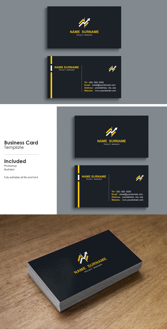 Minimal Business Card Print Template Design Black Color And Simple Clean L Elegant Business Cards Design Business Card Fonts Business Cards Creative Templates