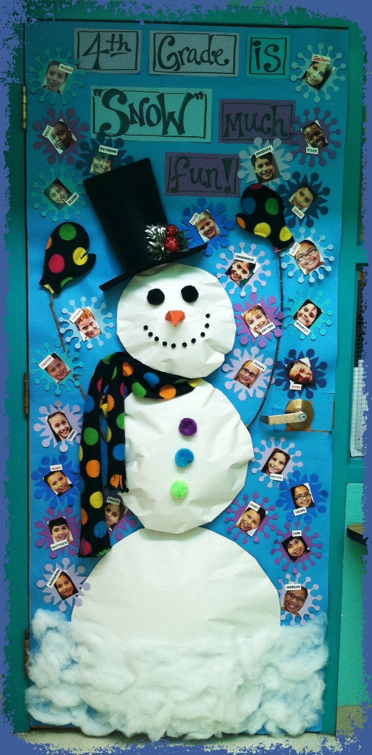 4th Grade Is Snow Fun Decorated Classroom Door Winter
