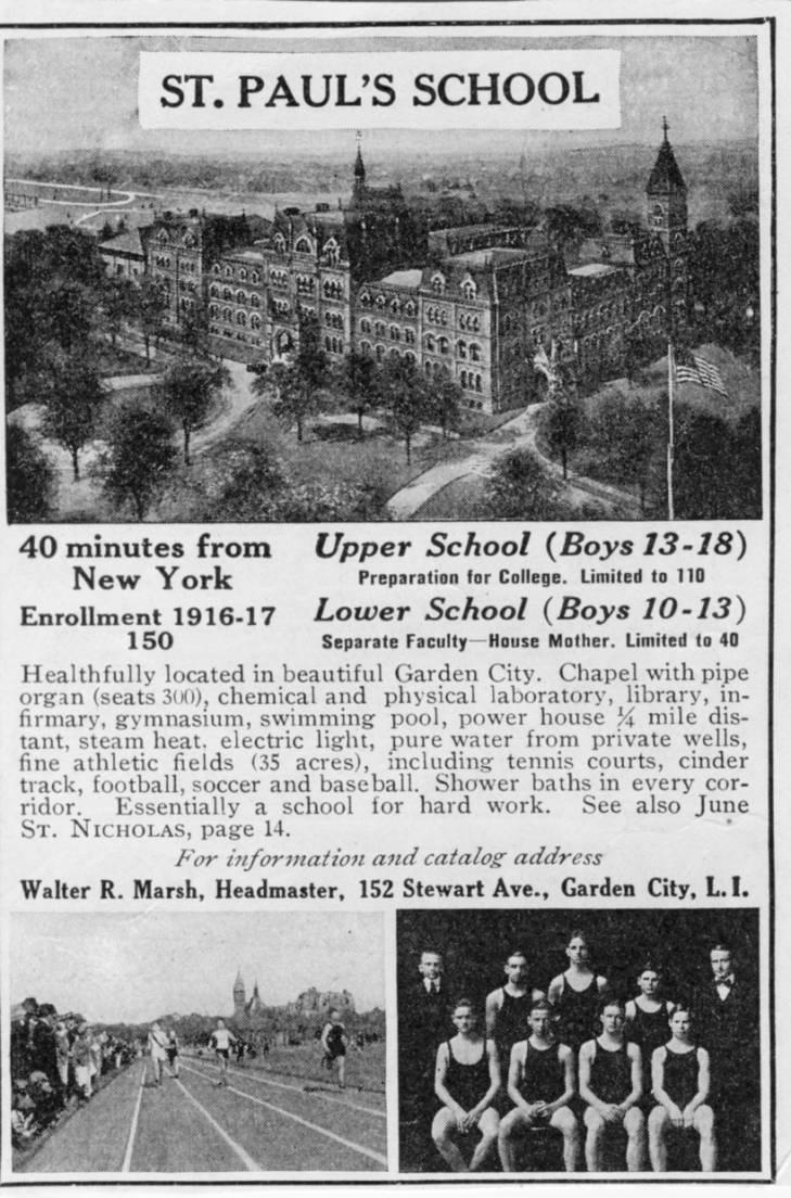 Schools; St. Paul's; magazine ad Garden City Public