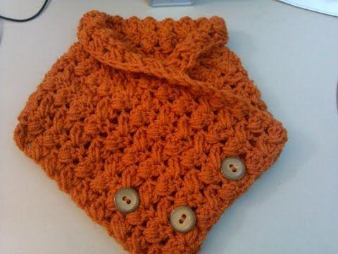 Crochet criss cross cowl with buttons video tutorial