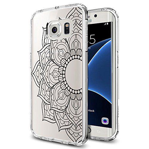 Mandala Floral 1 Soft TPU Samsung Galaxy S7 Edge Case Black Ink Mandala Floral Paisley Henna Design xcixinc