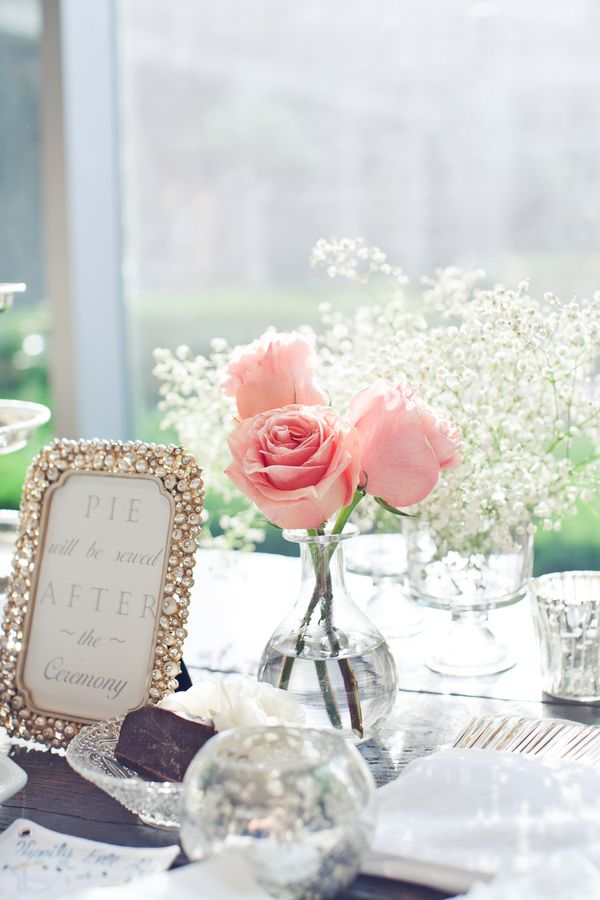 Pink rose babys breath centerpiece roses and