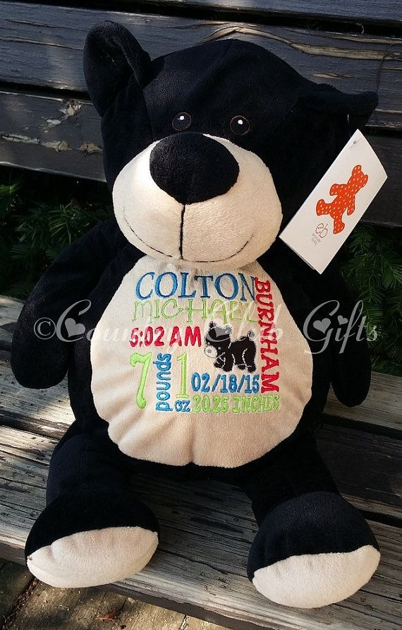 Personalized baby gift personalized plush birth announcement best personalized baby gift birth announcement best baby gift ever plush black bear negle Image collections