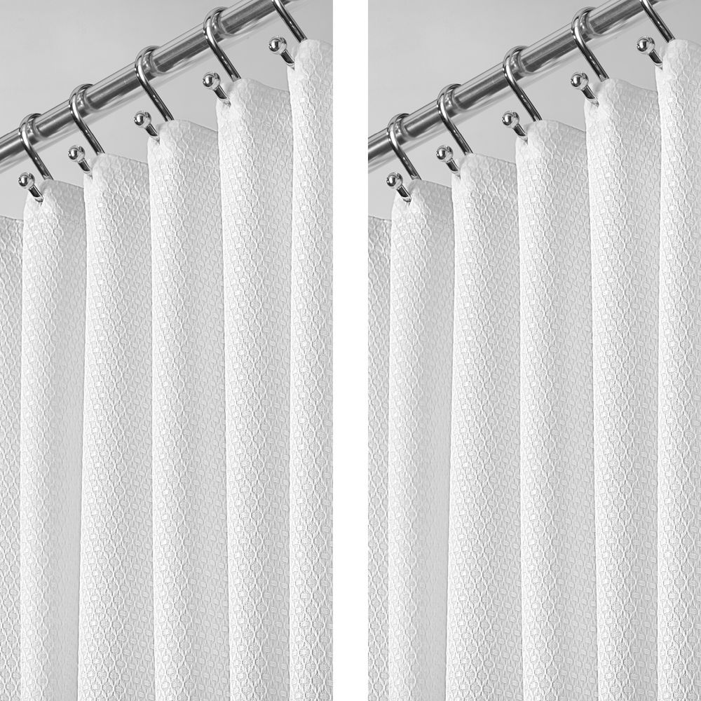 Stall Size Waffle Weave Shower Curtain 54 X 78 White Stall Size Shower Curtain Fabric Shower Curtains Hotel Shower Curtain