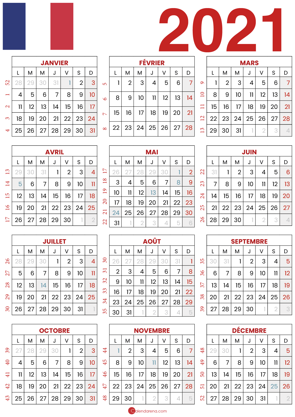 Calendrier 2021 Avec Jours Feries In 2020 Periodic Table