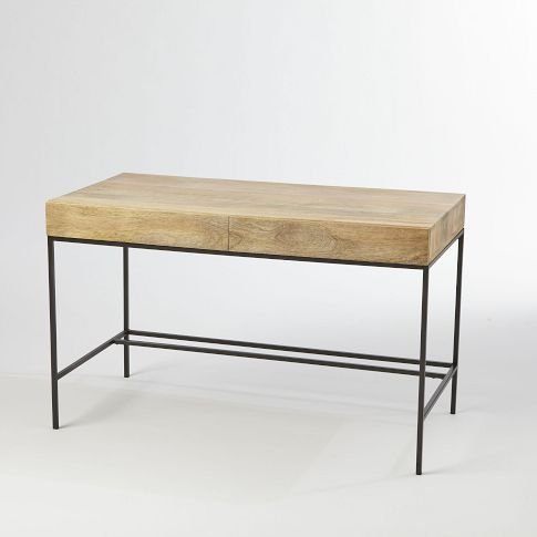 Rustic Storage Desk West Elm For Use As Behind The Sofa Table In Living Room
