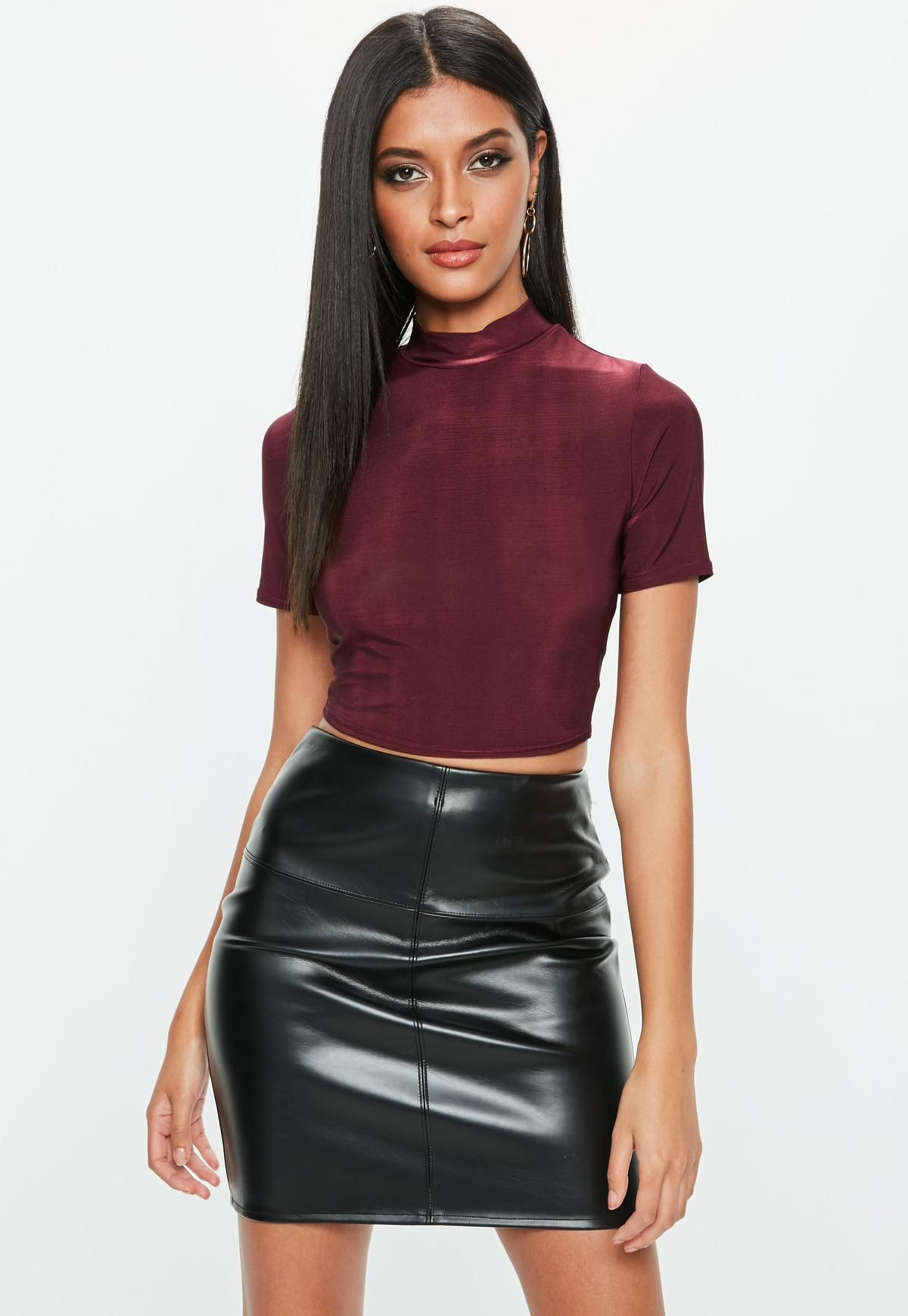 7693bfc1526 Burgundy Short Sleeve Turtle Neck Crop Top | Missguided | Closet ...