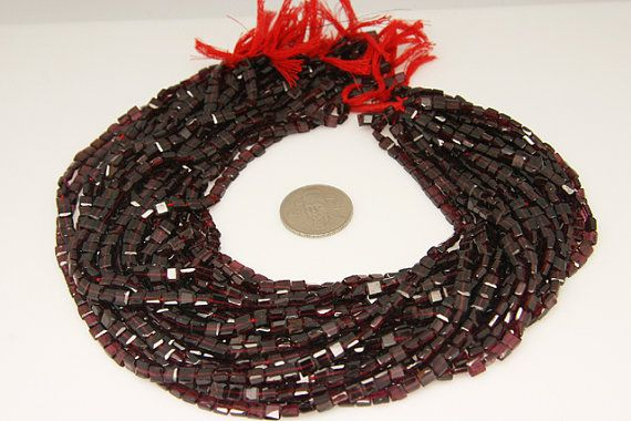 1strand - garnet square edge faceted 5by5mm