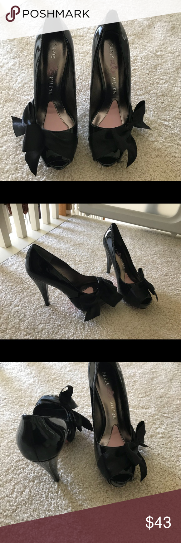 Paris Hilton Black Patent Heels with Bow Great for a