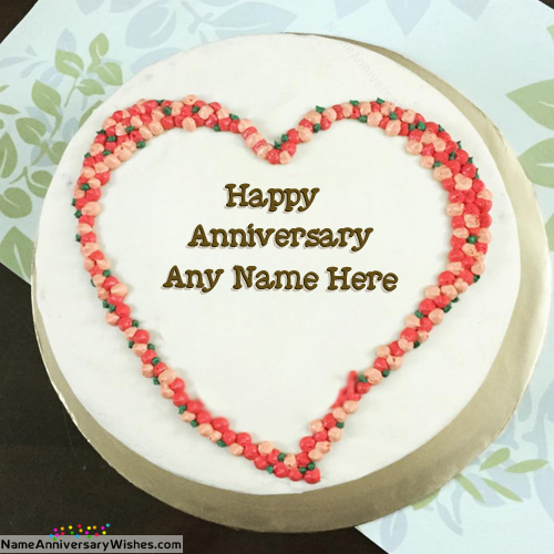 Heart Shaped Happy Anniversary Cakes With Name Happy Anniversary Cakes Wedding Cake With Name Anniversary Cake With Name