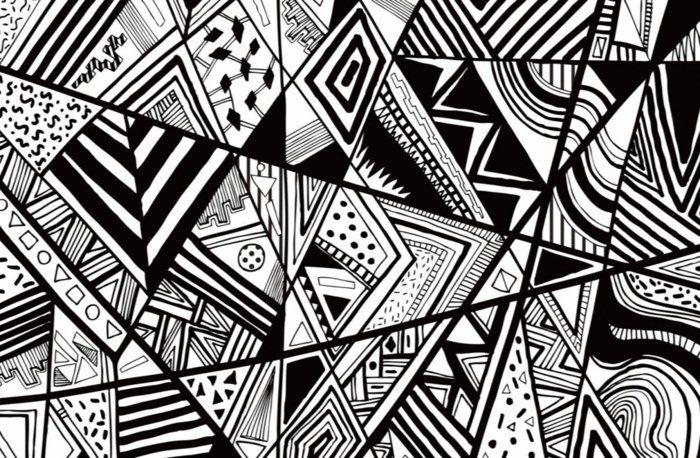 Wande Gestalten Grafisch Muster Schwarz Weiss Wild Jpg 700 458 Musterkunst Abstrakte Zeichnungen Grafische Muster