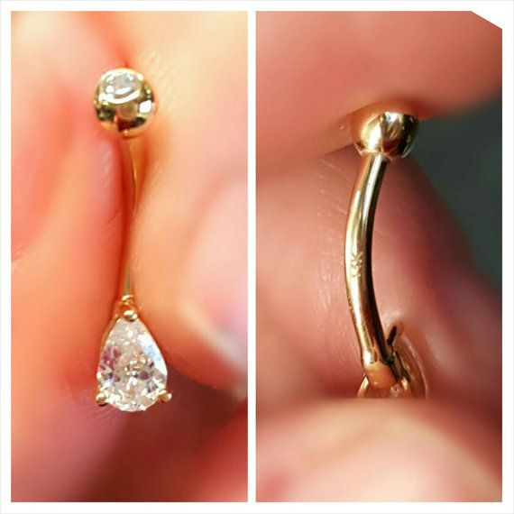 Solid 14k Gold Tear Drop Cubic Zirconia Prong 14g by ABodyJewelry