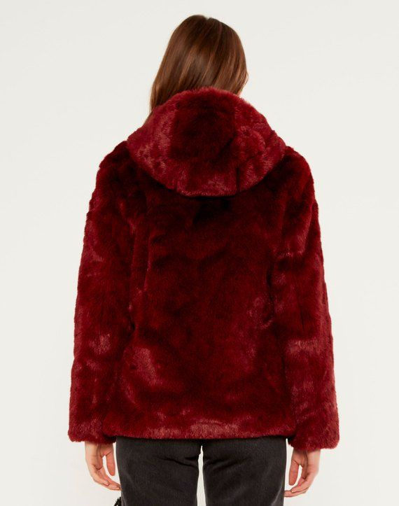 324a64854a4d Hooded Faux Fur Coat Mars Red | Fluffy | Faux fur hooded coat, Red ...