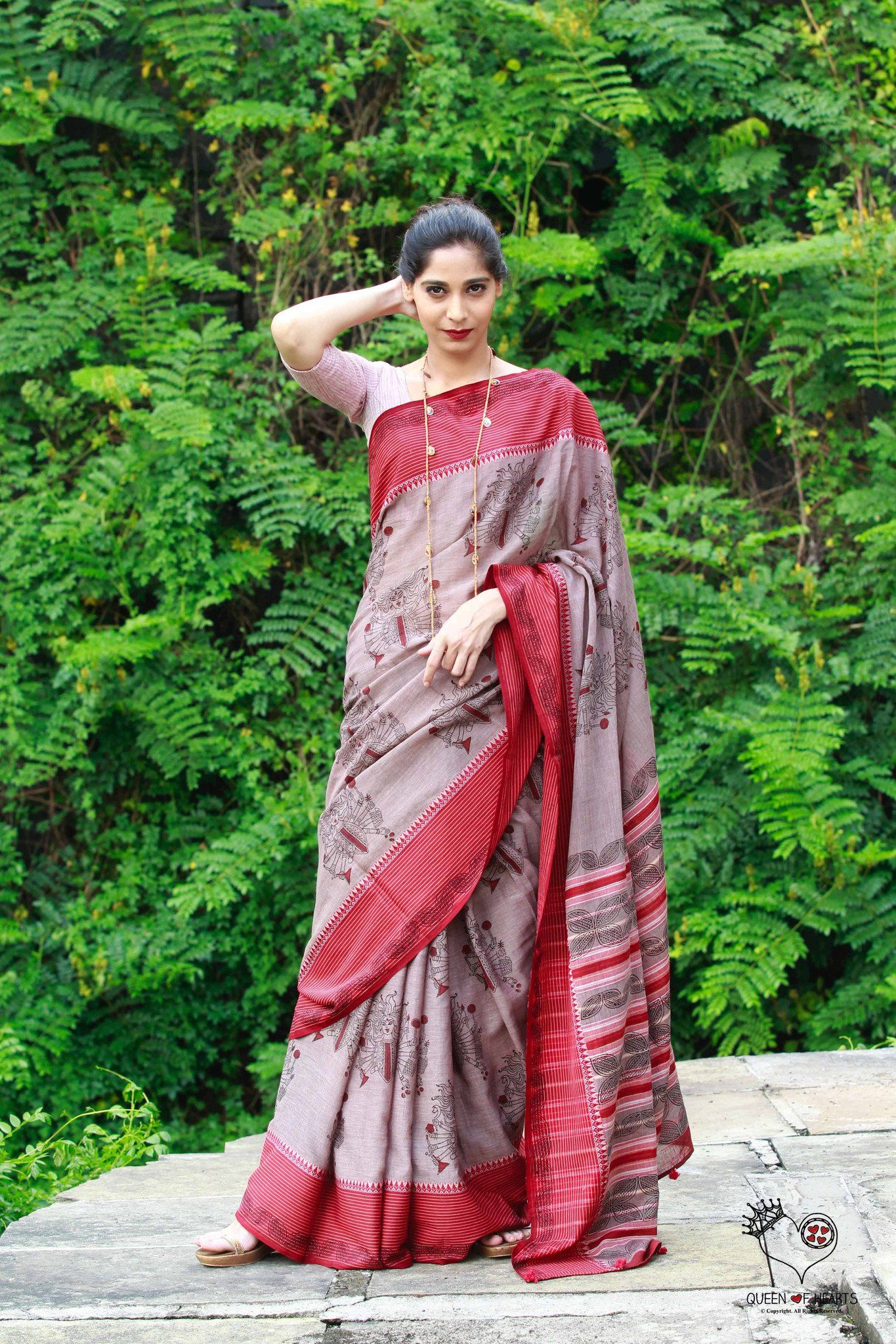 Grey with Red Border Devi Saree