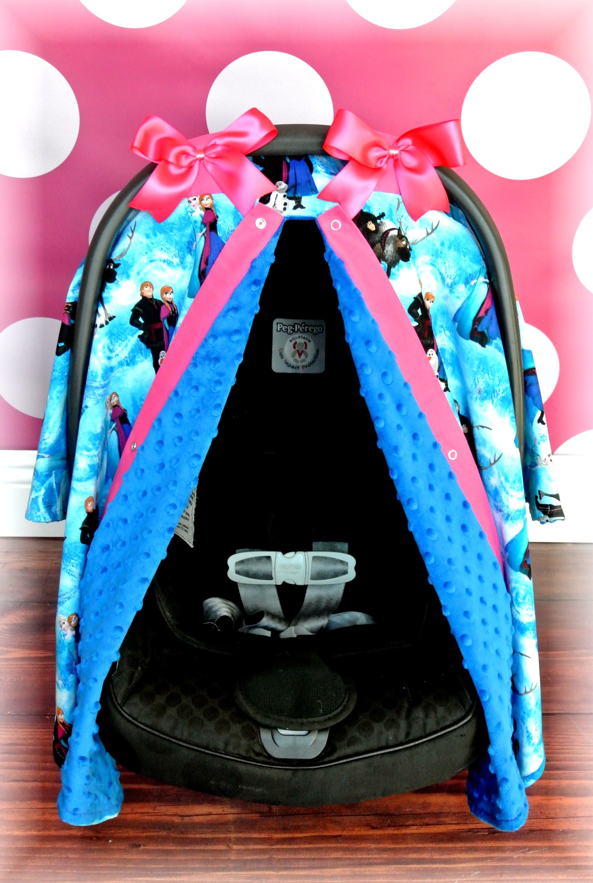 Frozen Elsa N Anna Blue Minky Canopy Baby Girl Car Seats