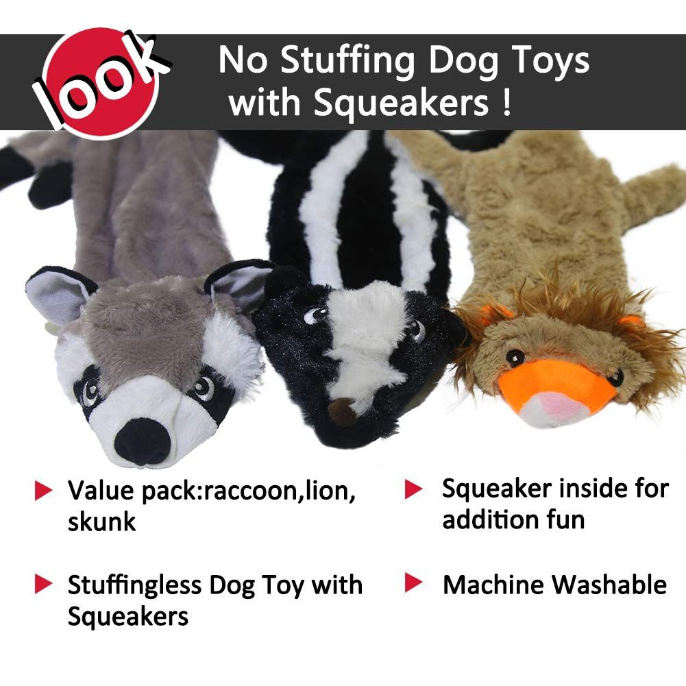 No Stuffing Dog Toys With Squeakersdurable Stuffingless Dog Plush