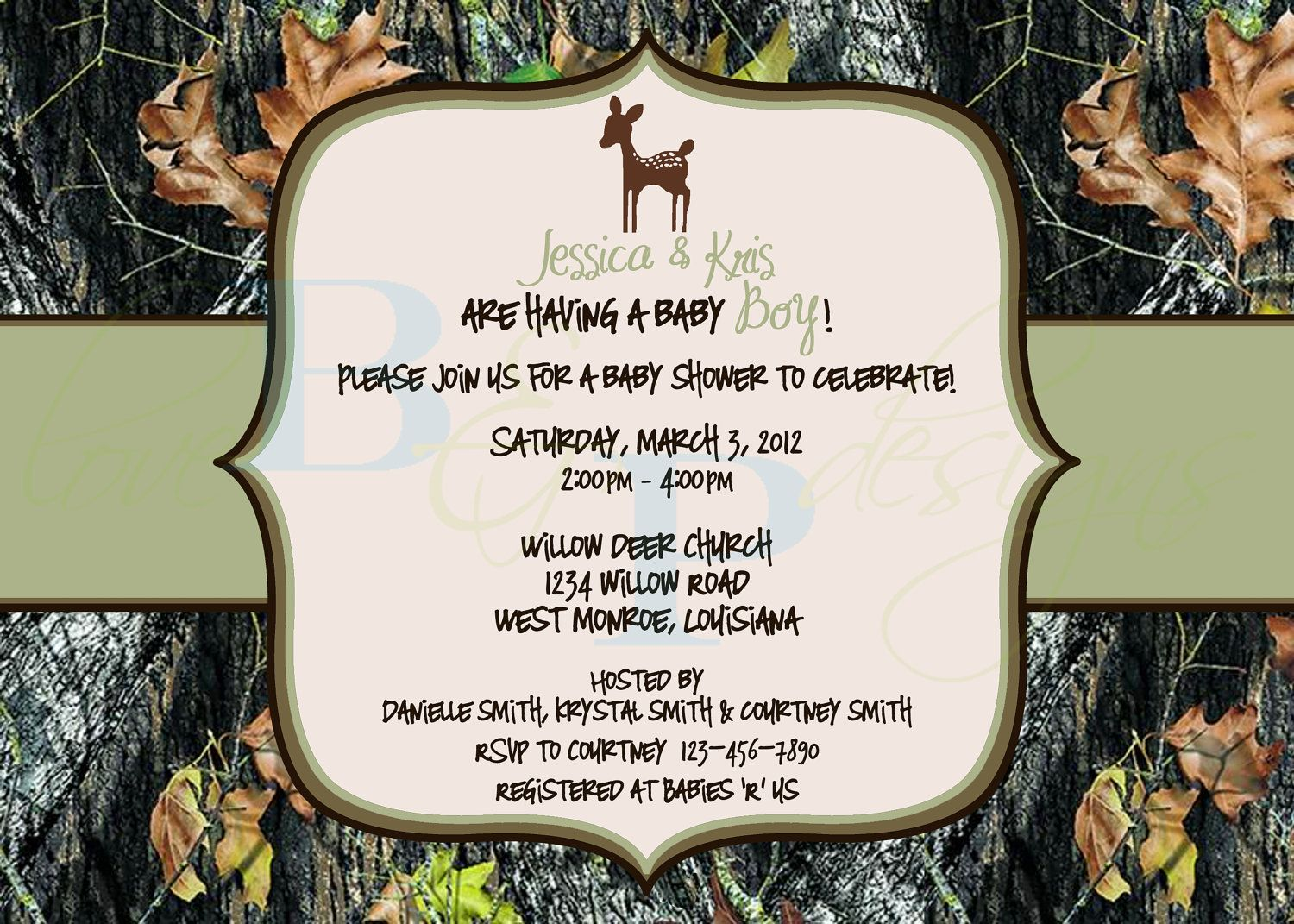 Camo Baby Shower Centerpiece | Mossy Oak Camo With Deer   Baby Shower  Invitation   Digital