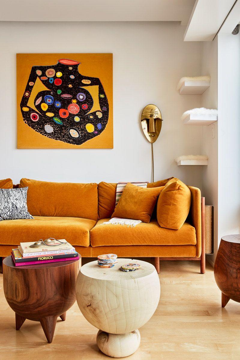Tour Caitlin Mociun S Brooklyn Home Living Room Orange