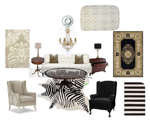 Living Room by jolynne10 on Polyvore featuring interior, interiors, interior design, home, home decor, interior decorating, Gallery, Universal Lighting and Decor, Momeni and Surya