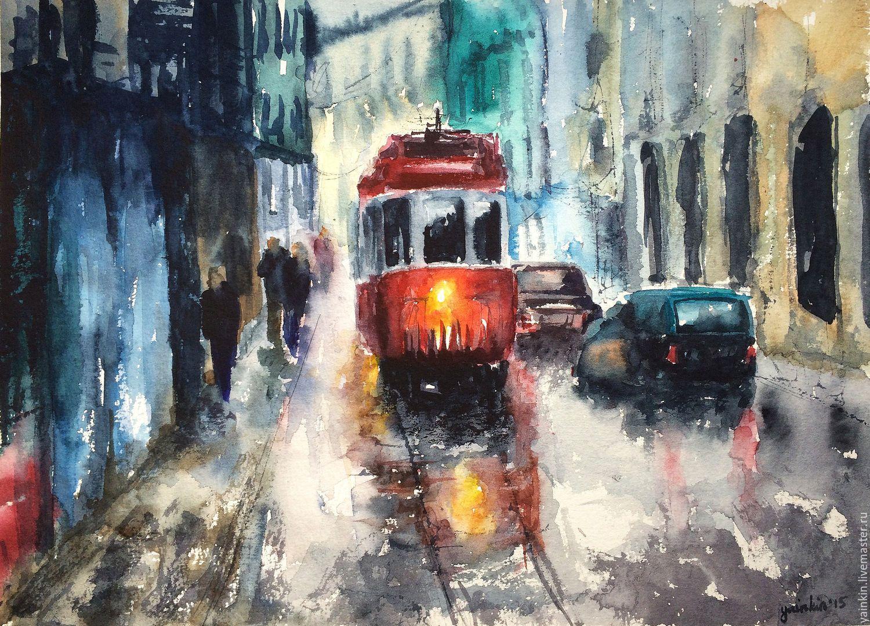 """Купить """"Дождливый город"""", осенняя картина акварелью ...  Дождливый Город Картина"""
