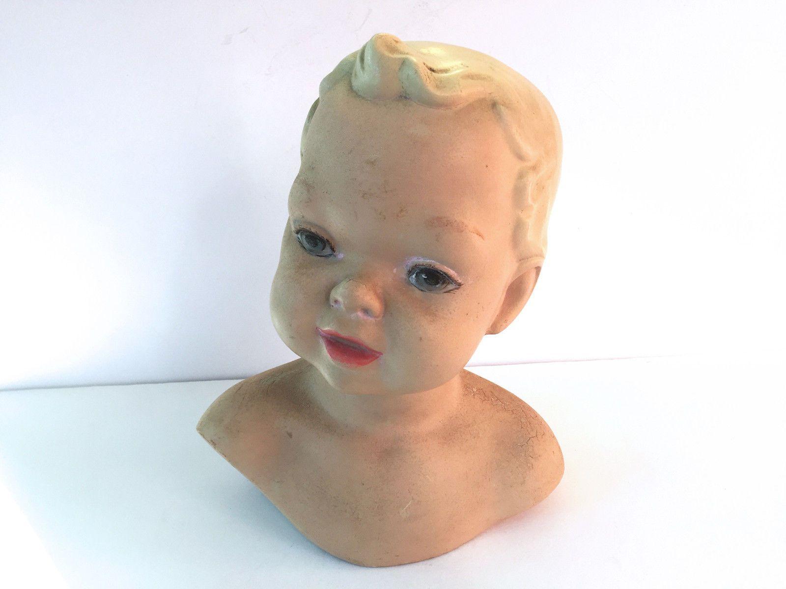Vintage 30 S 40 50 Child Baby Toddler Mannequin Head