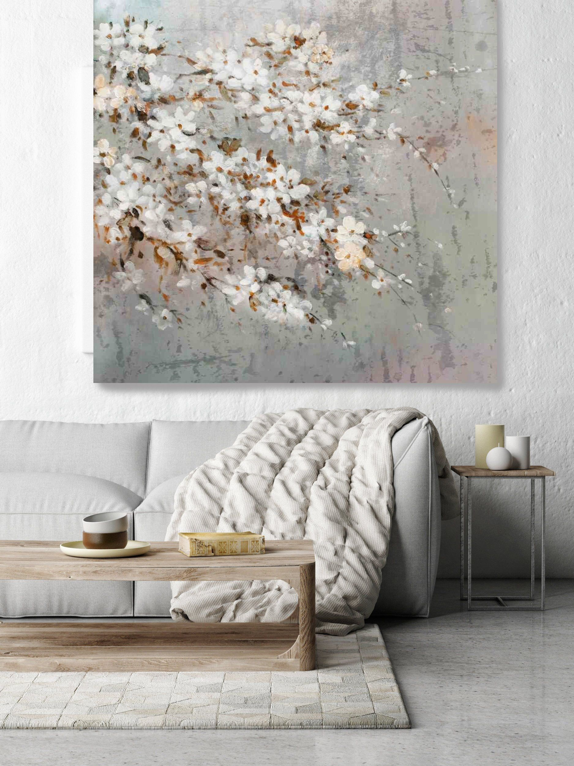 Branches Of Cherry Blossoms At Spring Shabby Chic Rustic Etsy Floral Wall Art Canvases Wall Art Canvas Painting Floral Wall Art