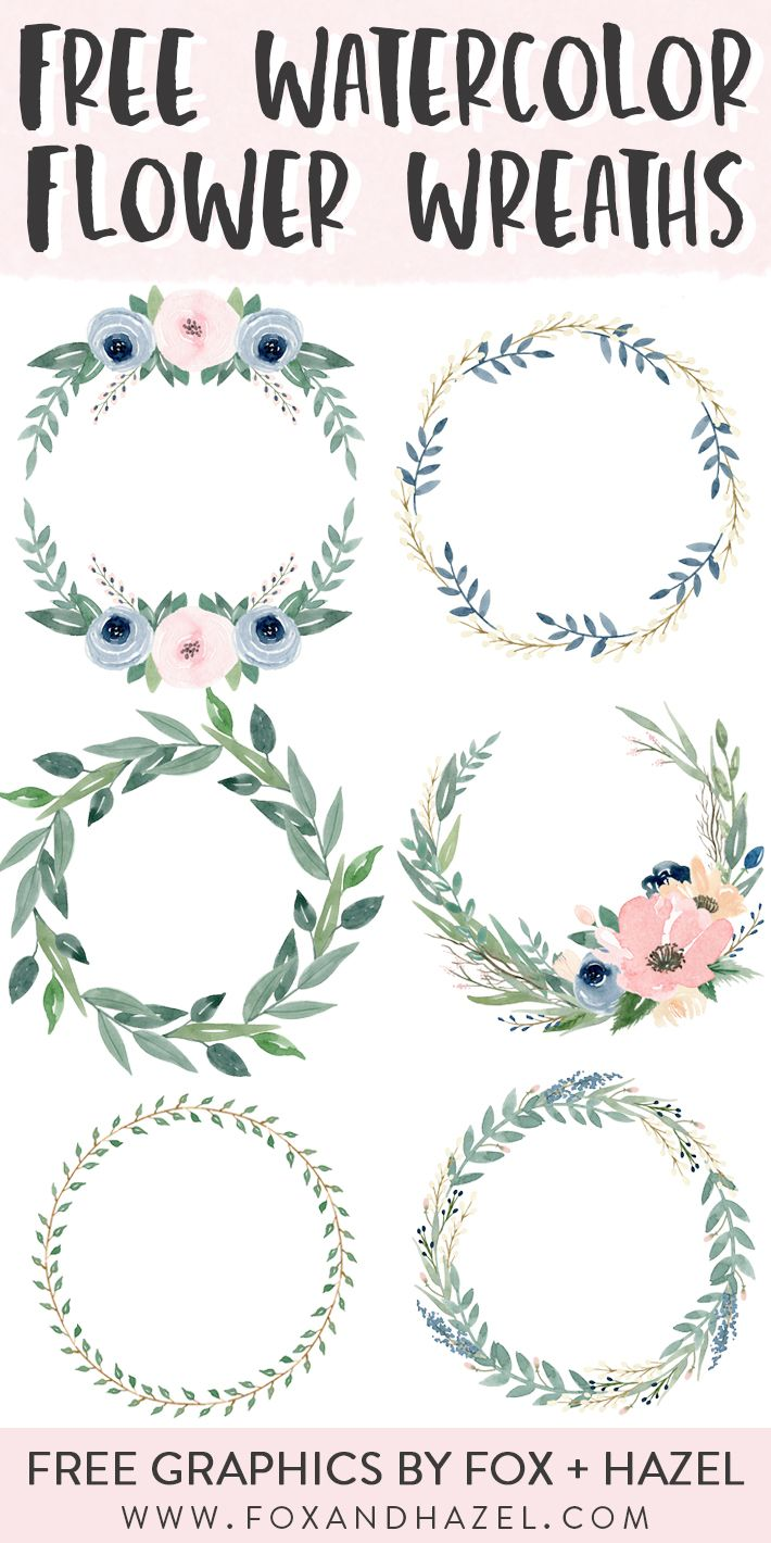 6 Free Beautiful Watercolor Flower Wreaths | Fox + Hazel