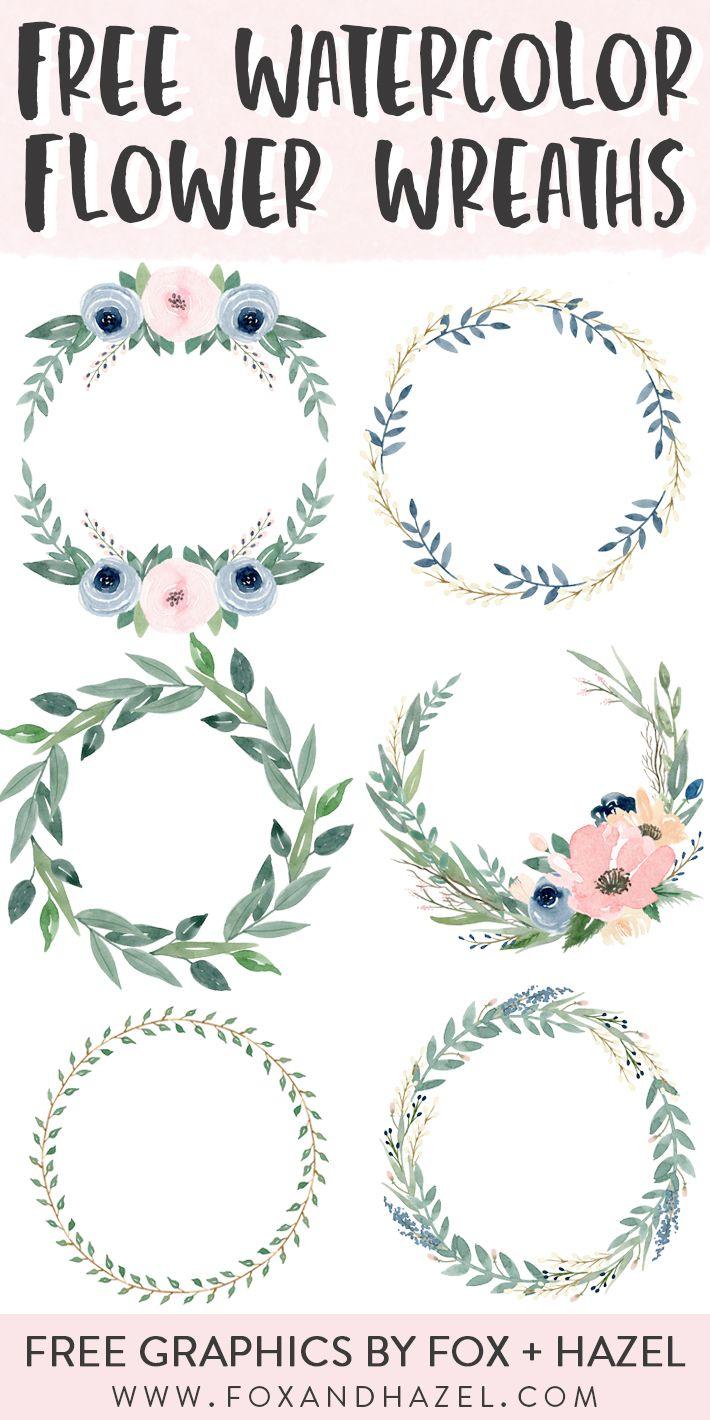 6 Free Beautiful Watercolor Flower Wreaths | Fox + Hazel
