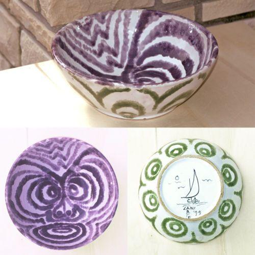 centrotavola bianca viola e verde in ceramica