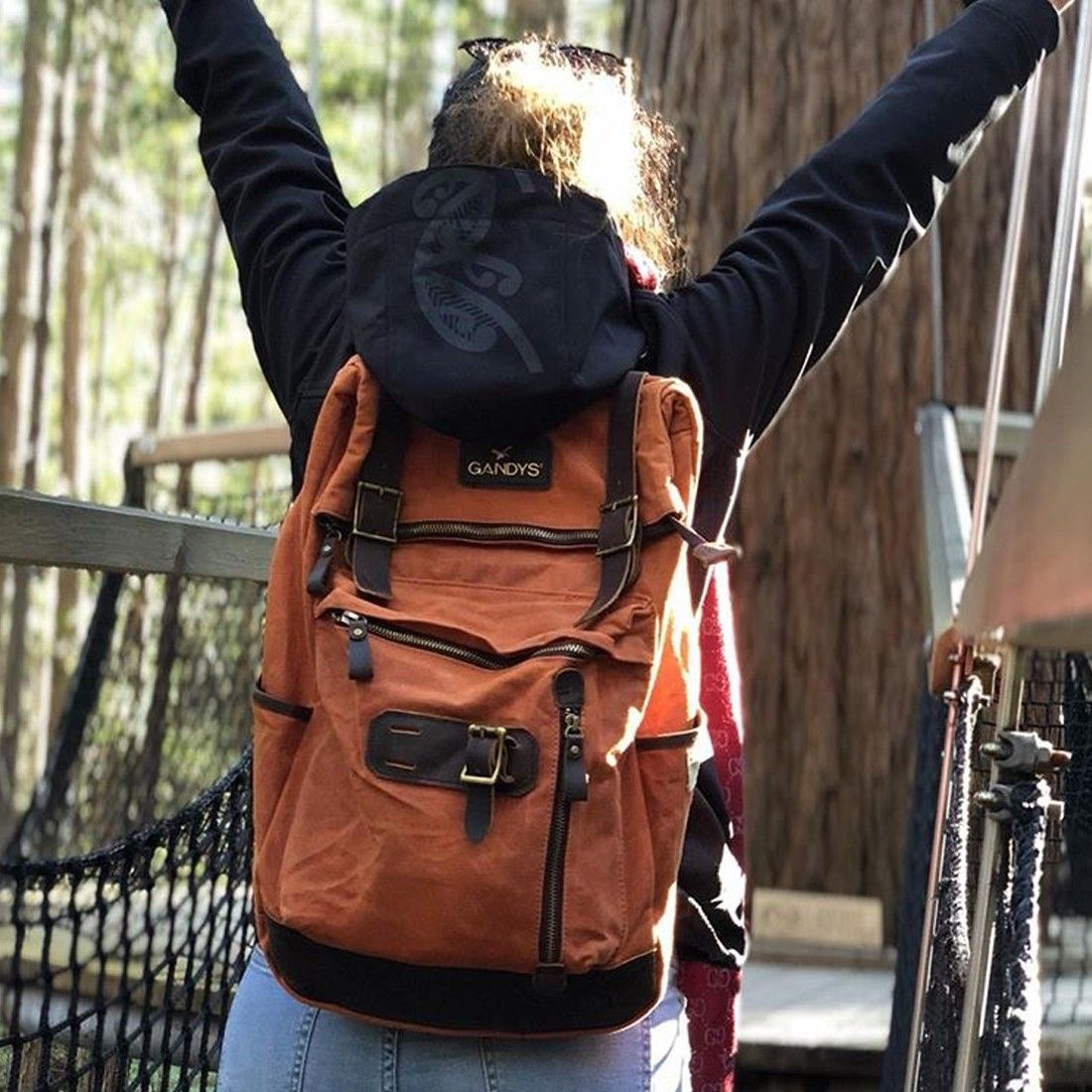 Burnt Orange Waxed Bali Authentic Voyager Backpack Gandys London ... 4c281b50e2