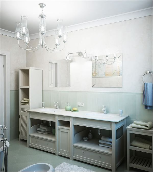 Small Bathroom Ideas... Like the cabinets and the colors. Definitely different mirrors, lights, wall color, etc.